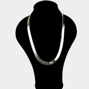 Simple Gold Metal Link Herringbone Necklace Chain